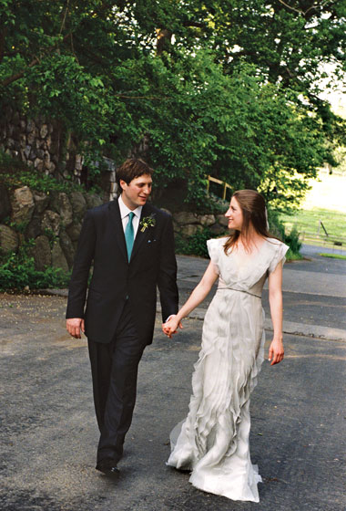wedding at blue hill farm Grey wedding dress